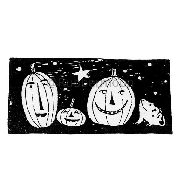 Jane Cather | JC545G - Happy Pumpkins - Rubber Art Stamp