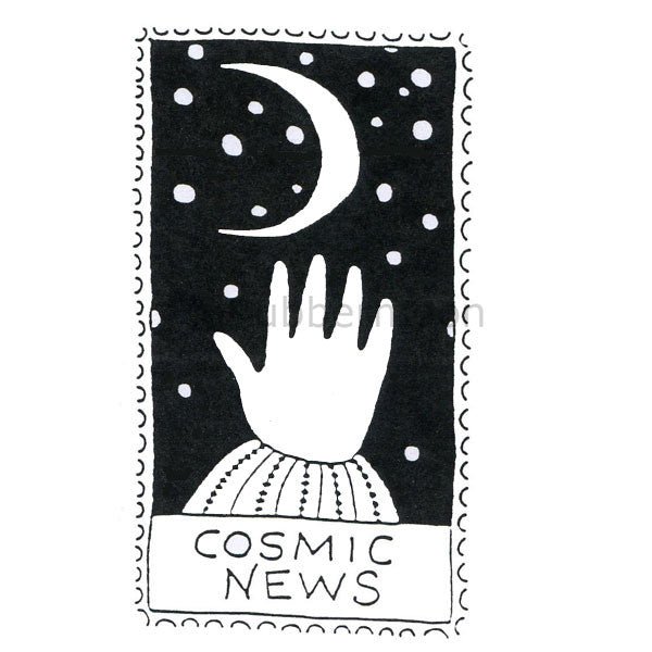 Jane Cather | JC732H - Cosmic News (large) - Rubber Art Stamp