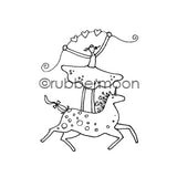 Jone Hallmark | JH7550G - Eunice on a Unicorn - Rubber Art Stamp