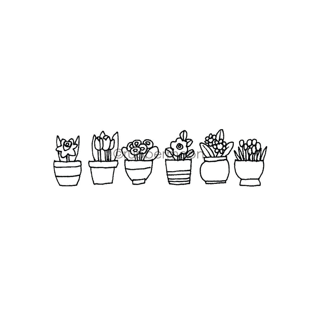 Jone Hallmark | JH7651G - Potted Plants Border - Rubber Art Stamp