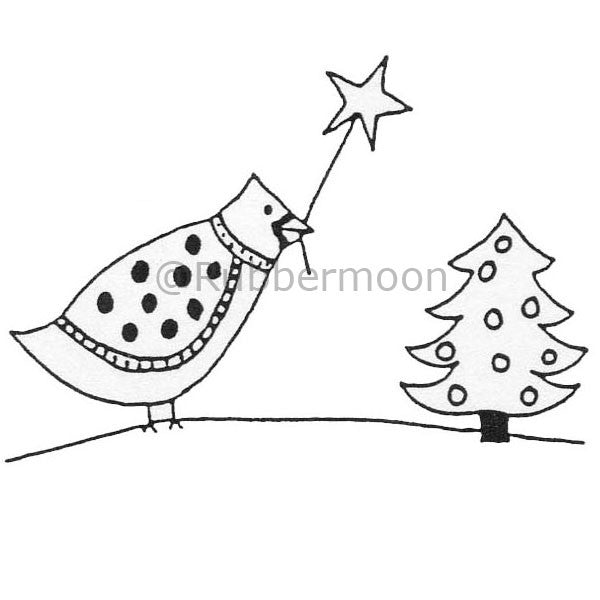 Joanna Taylor | JT303D - Bird w/ Xmas Tree - Rubber Art Stamp