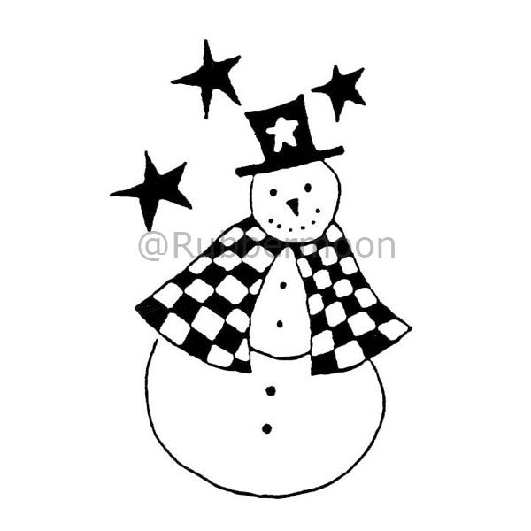 Joanna Taylor | JT402F - Top Hat Snowman - Rubber Art Stamp