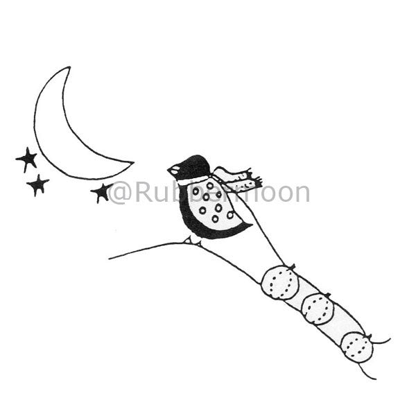 Joanna Taylor | JT502F - Bird Sled & Moon - Rubber Art Stamp