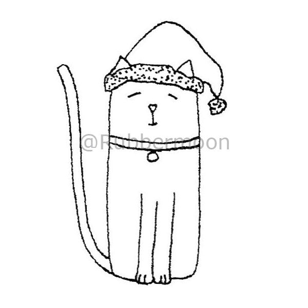 Kae Pea | KP2910F - Cat w/ Santa Hat - Rubber Art Stamp
