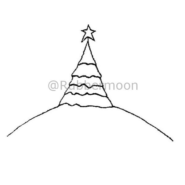Kae Pea | KP2911G - Tree on Hill - Rubber Art Stamp