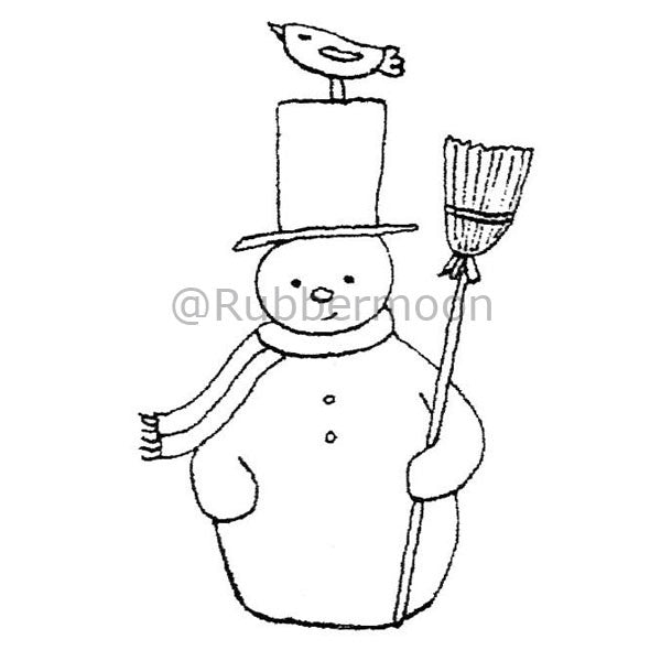 Kae Pea | KP2912G - Snowman w/ Bird on His Hat - Rubber Art Stamp