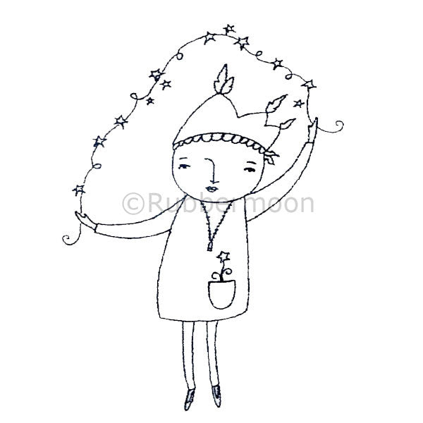 Girl w/Star String - KP2913I - Rubber Art Stamp