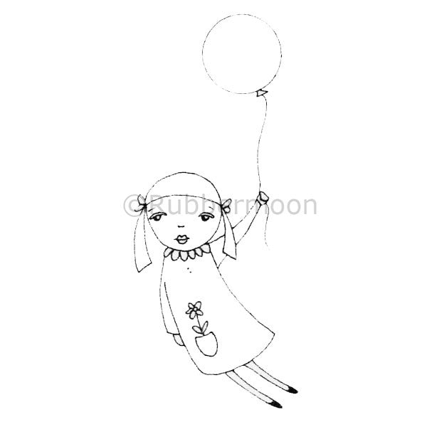Kae Pea | KP5003H - Beautiful Balloon Girl - Rubber Art Stamp