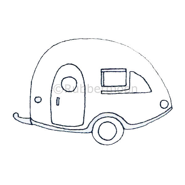 Kae Pea | KP5005F - Teardrop Camper Trailer - Rubber Art Stamp
