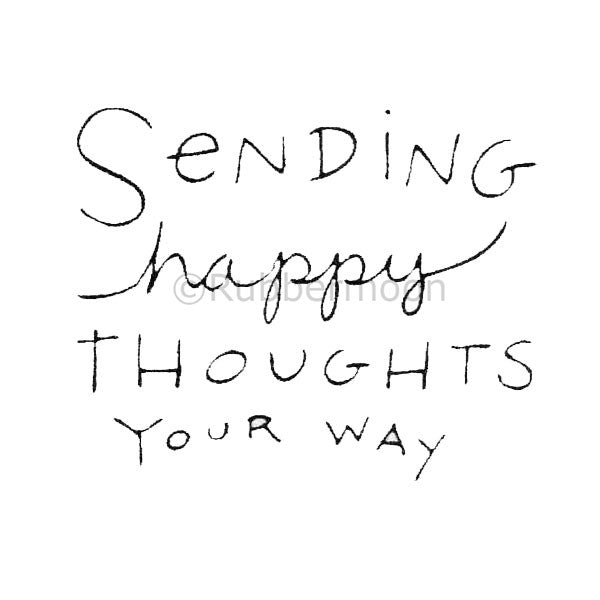 Kae Pea | KP5016F - Sending Happy Thoughts - Rubber Art Stamp