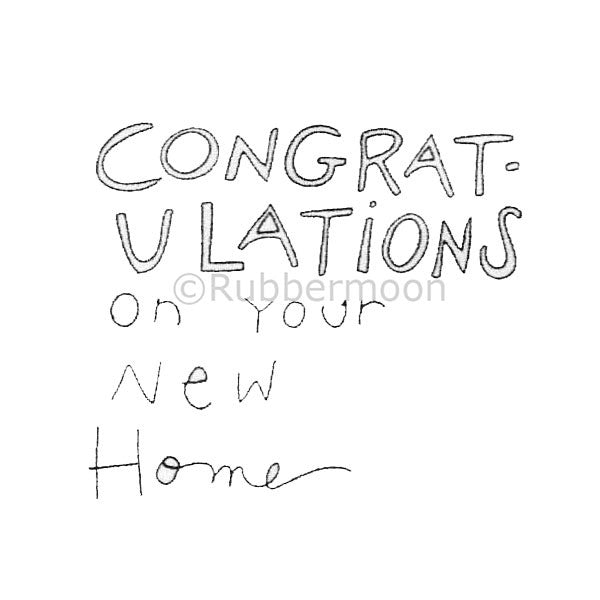 Kae Pea | KP5017F - Congrats on Your New Home - Rubber Art Stamp