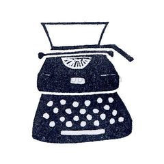 Kae Pea | KP5044G - Typewriter w/ Heart End-Mount - Rubber Art Stamp