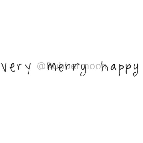 "Kae Pea | KP5118C - ""Very Merry Happy"" - Rubber Art Stamp"