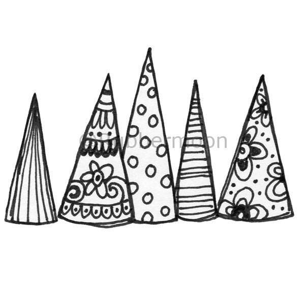 5 Trees - KP5119H - Rubber Art Stamp