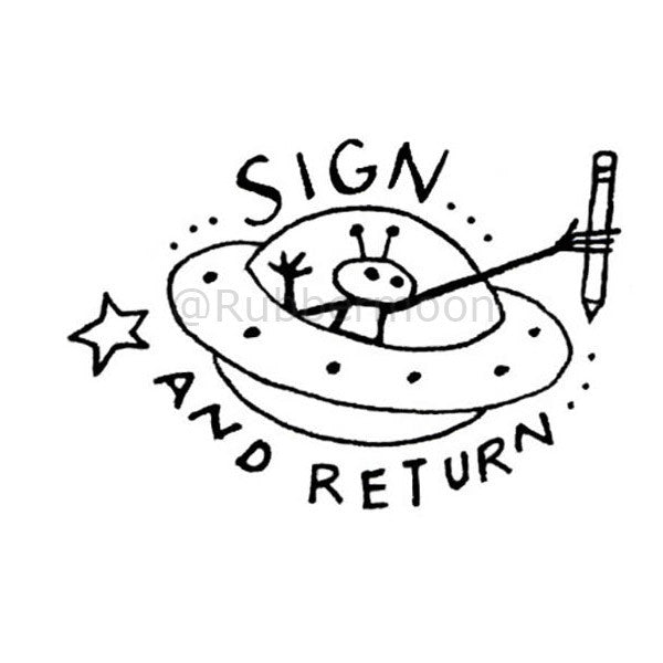 "Kae Pea | KP5182F - ""Sign & Return"" - Rubber Art Stamp"