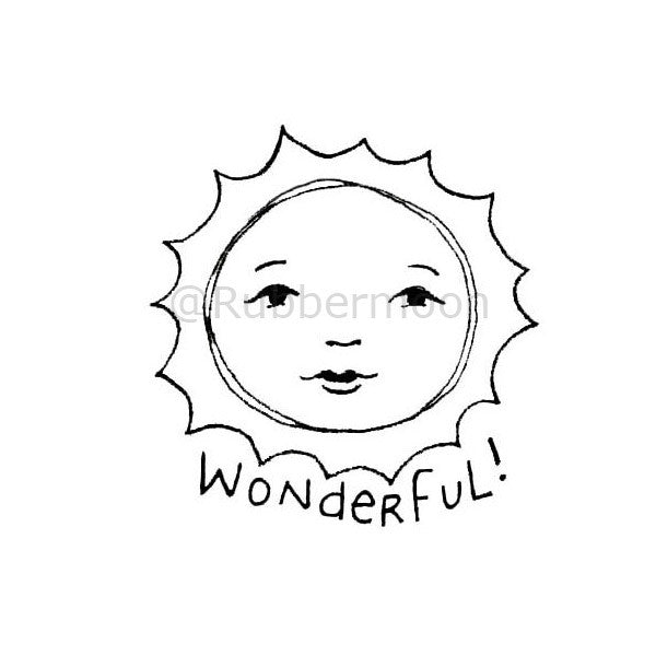 "Kae Pea | KP5183F - ""Wonderful!"" - Rubber Art Stamp"