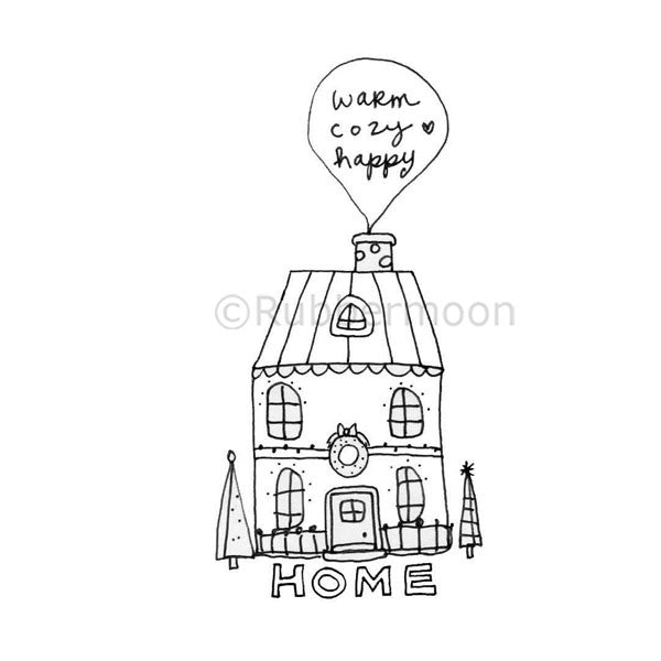 Kae Pea | KP5194I - Warm, Cozy, Happy House - Rubber Art Stamp