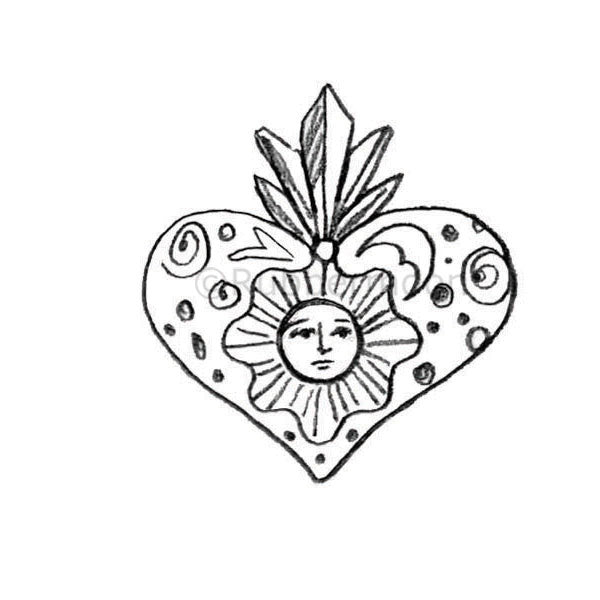 Kae Pea | KP5321F - El Sol Heart - Rubber Art Stamp