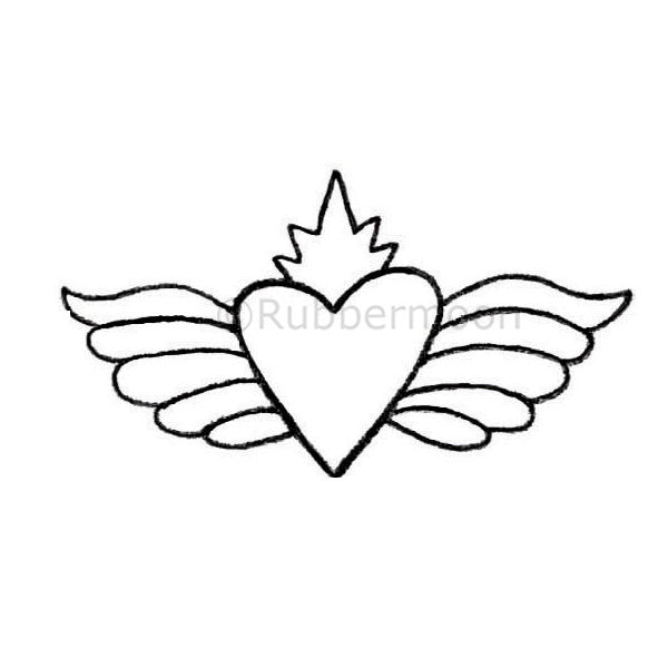Radiant Winged Heart - KP5322F - Rubber Art Stamp