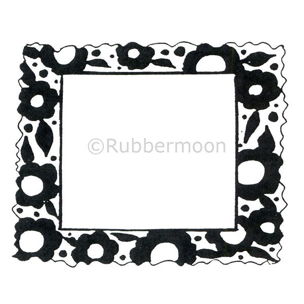 Block Flower Frame - MK1072I - Rubber Art Stamp