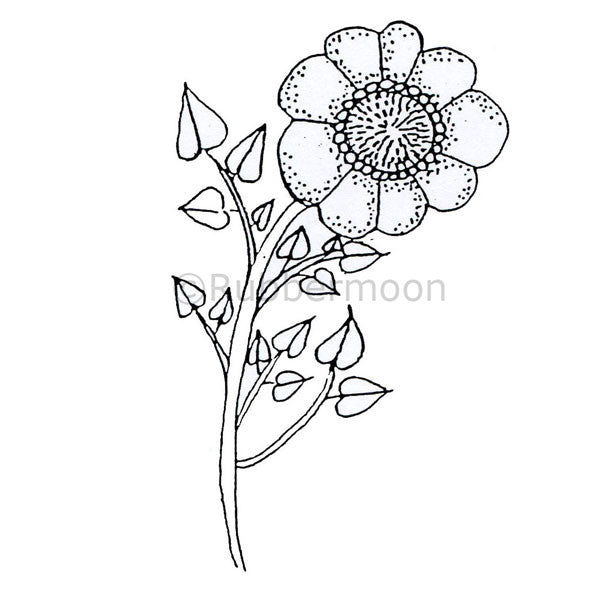 Fun Flower - MK1074J - Rubber Art Stamp