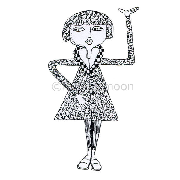 Marylinn Kelly | MK2120J - Poetry Girl - Rubber Art Stamp