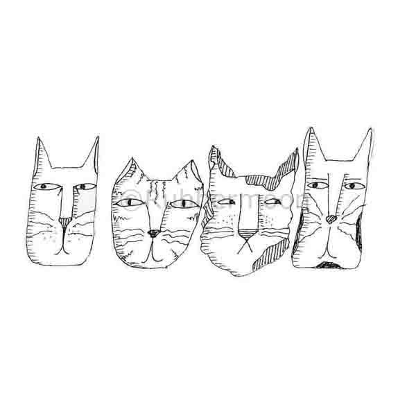 Marylinn Kelly | MK2743H - 4 Cat Heads - Rubber Art Stamp