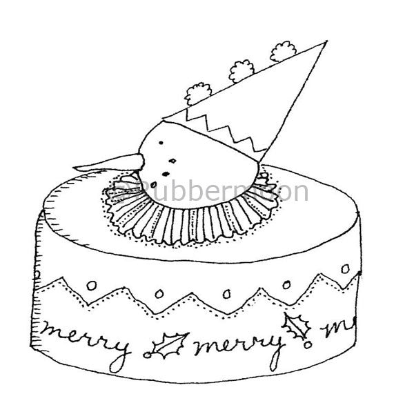 Marylinn Kelly | MK2745H - Merry Xmas Cake - Rubber Art Stamp
