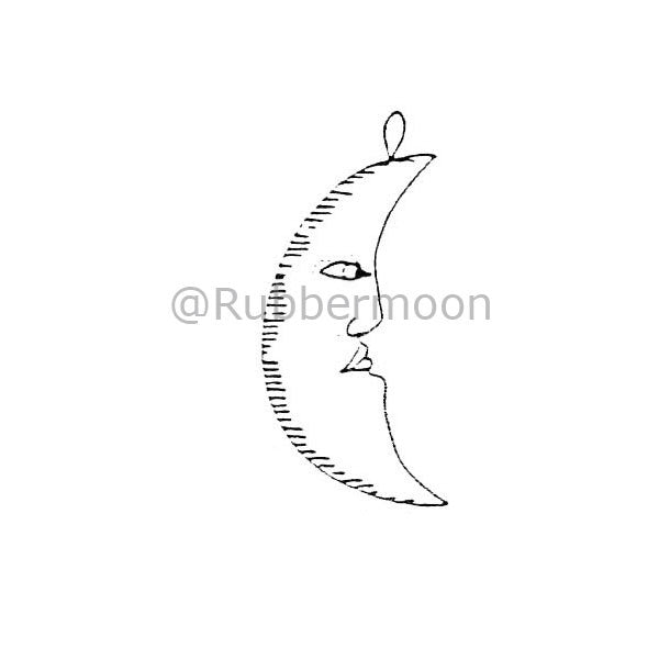 Marylinn Kelly | MK358C - Half Moon Ornament - Rubber Art Stamp