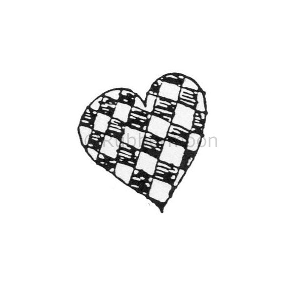 Marylinn Kelly | MK381C - Checkerboard Heart - Rubber Art Stamp