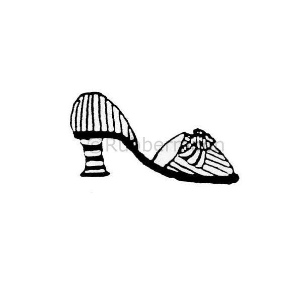 Marylinn Kelly | MK389B - Striped Shoes w/ Bow - Rubber Art Stamp