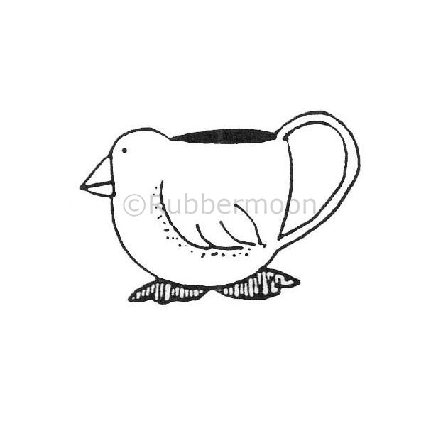Marylinn Kelly | MK390D - Chicken Teacup - Rubber Art Stamp