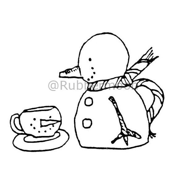 Marylinn Kelly | MK480D - Snowman Cup - Rubber Art Stamp