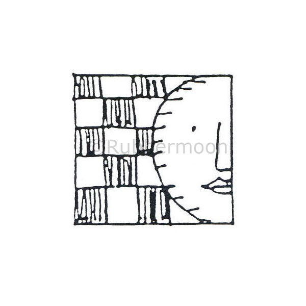 Marylinn Kelly | MK487D - Checkered Moon - Rubber Art Stamp