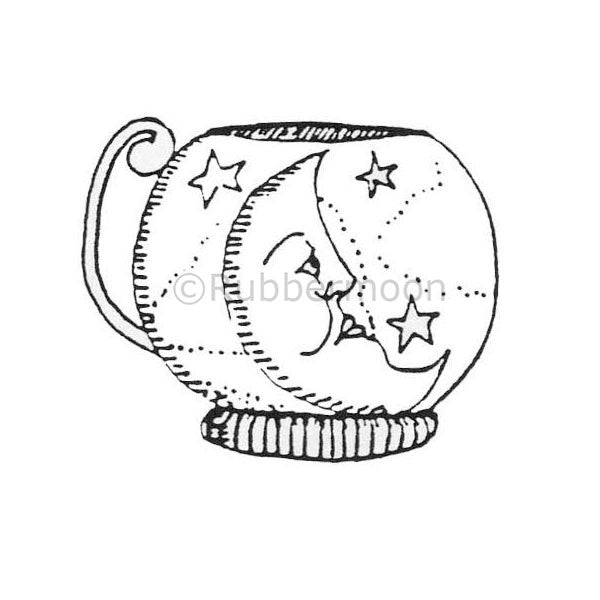 Marylinn Kelly | MK491D - Moon & Stars Teacup - Rubber Art Stamp