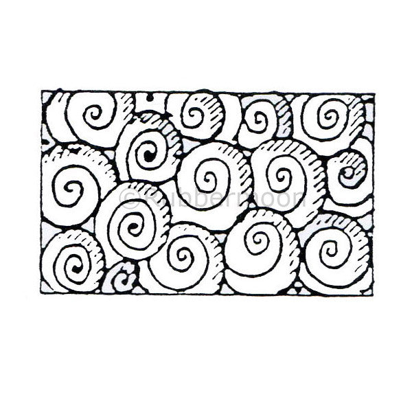 Marylinn Kelly | MK9119E - Swirls in a Box - Rubber Art Stamp