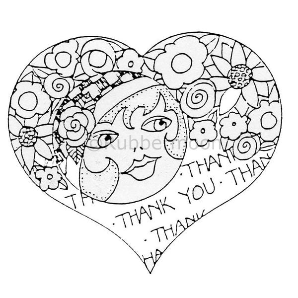 Marylinn Kelly | MK9126I - Thank You Heart - Rubber Art Stamp
