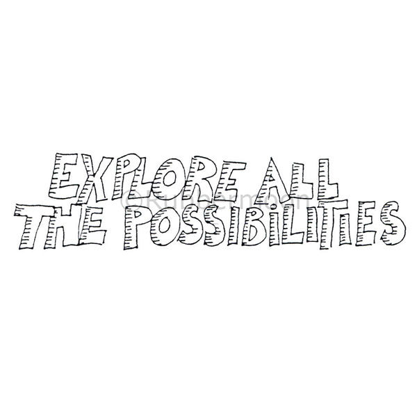 "Marylinn Kelly | MK9189F - ""Explore All The Possibilities"" - Rubber Art Stamp"