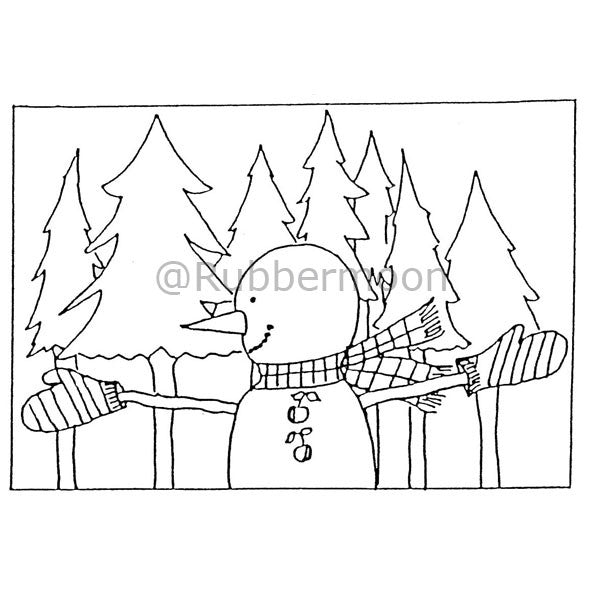 Marylinn Kelly | MK963J - Snowman w/ Gloves - Rubber Art Stamp