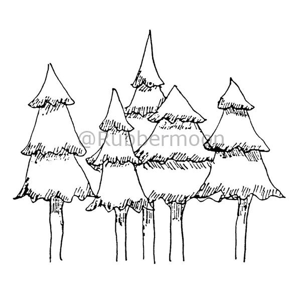 Marylinn Kelly | MK970K - 5 Snowy Trees - Rubber Art Stamp
