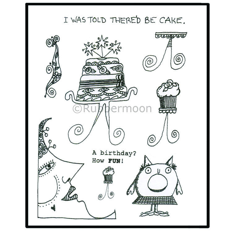 Marylinn Kelly | MKQ5 - Cake (unmounted sheet only) - Rubber Art Stamps