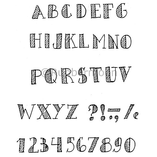 Marylinn Kelly | MKA2 - Alphabet w/ Stripes (unmounted only) - Rubber Art Stamps