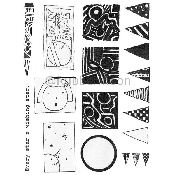 Marylinn Kelly | MKQ1 - Jolly Daze (unmounted sheet only) - Rubber Art Stamps