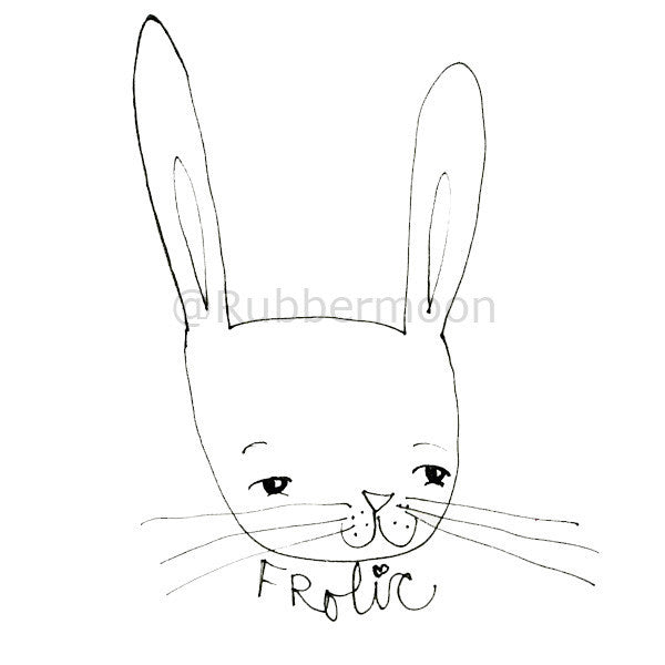 Mindy Lacefield | ML103G - Frolic Bunny - Rubber Art Stamp