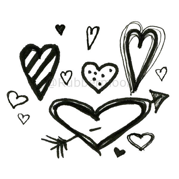 Mindy Lacefield - Lots o' Hearts - ML200G - Rubber Art Stamp