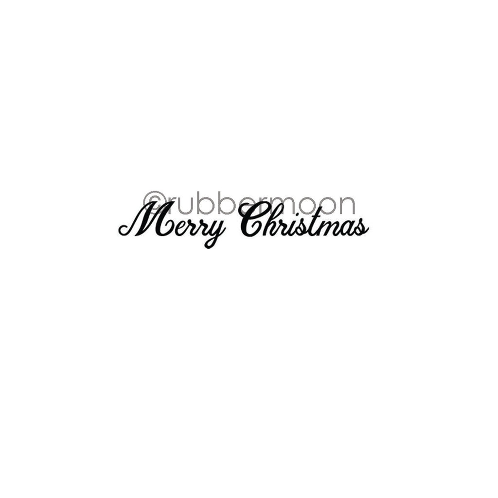 "Maxi Moon | MM7337E - ""Merry Christmas"" Script - Rubber Art Stamp"