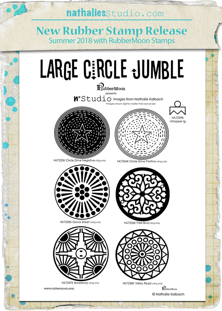 Nathalie Kalbach | NKLCJ7 - Large Circle Jumble Set - Rubber Art Stamps