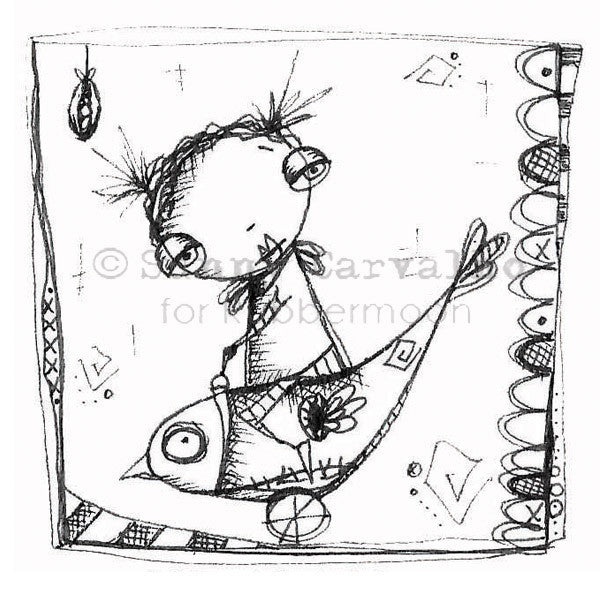 Bird Rides - SC111G - Rubber Art Stamp