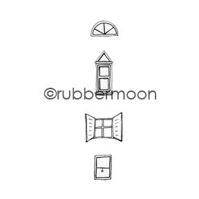 Kae Pea | KP5404H - Windows Cube - Rubber Art Stamp