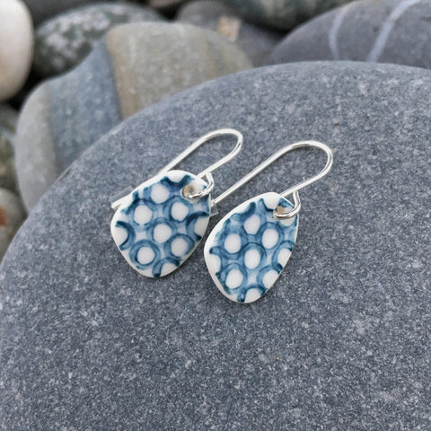 Coast hand made Ceramic Earrings with Silver Hooks